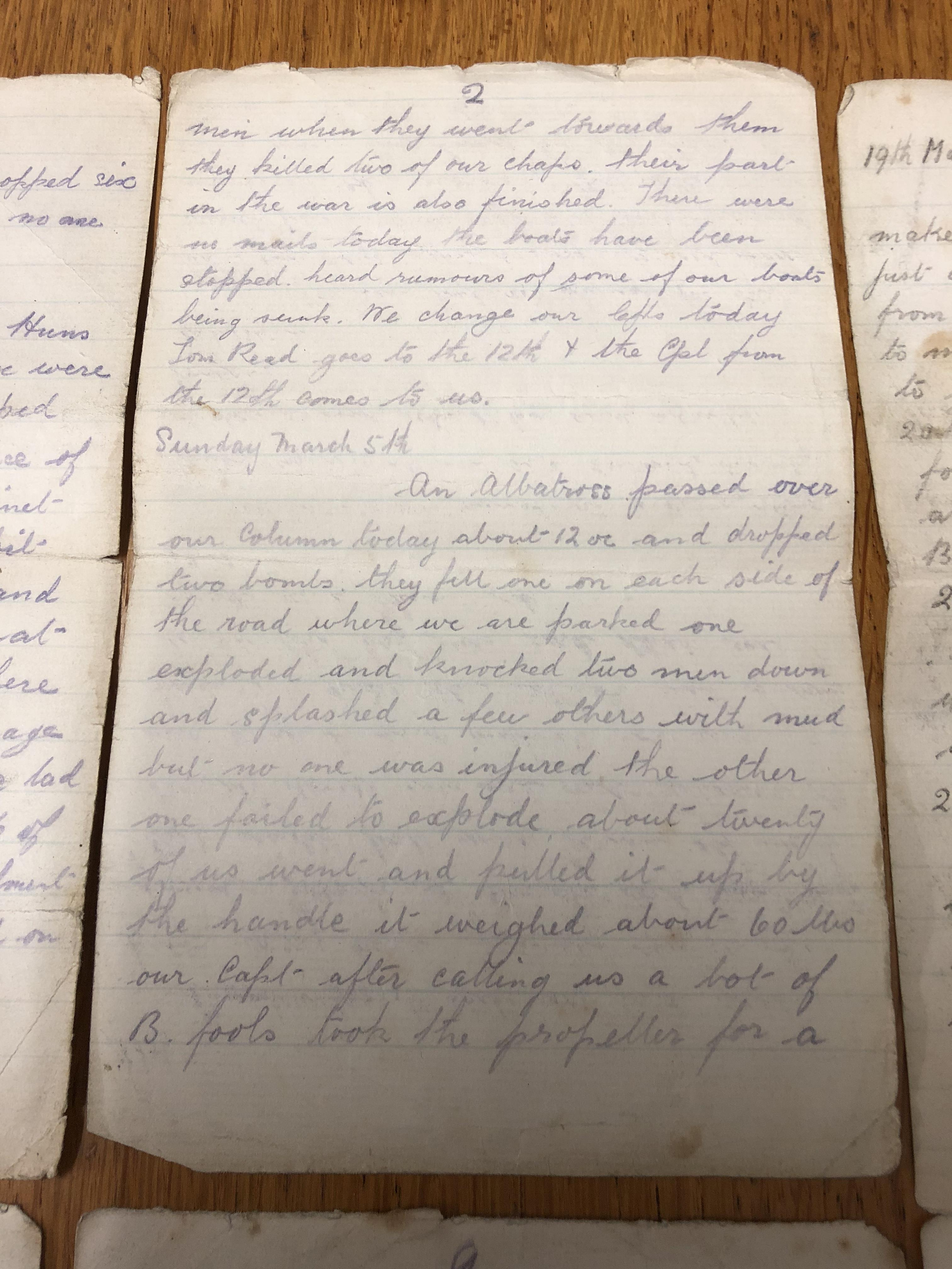 Lot 28 - WWI 35 page front line diary of William Alfred Arnold Kelly - excerpts have been placed on our