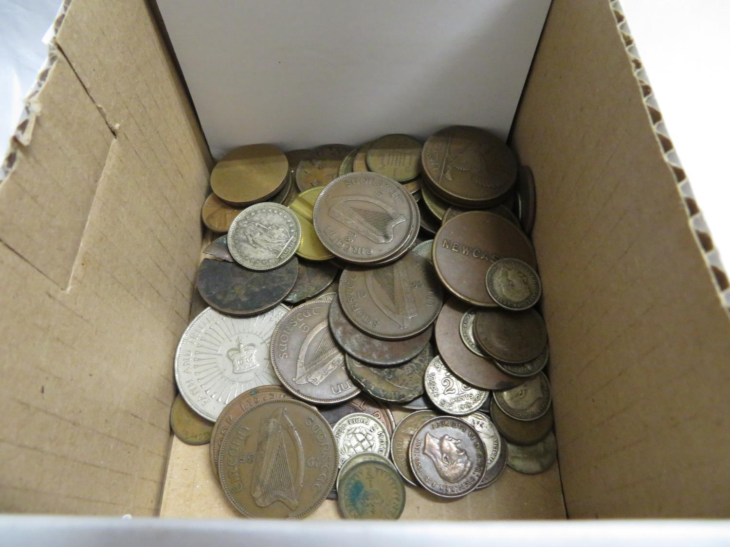 Lot 37 - Collection of silver coins, business tokens and other penny tokens and five pound coin