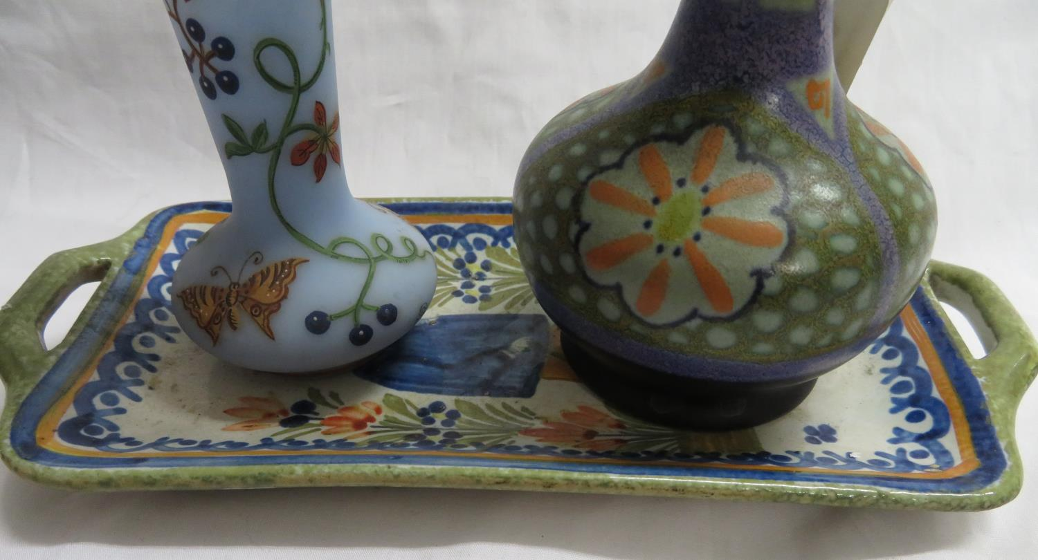 Lot 34 - Delft coloured ware spill vase with one Delft bon bon tray and one Sevres painted glass vase
