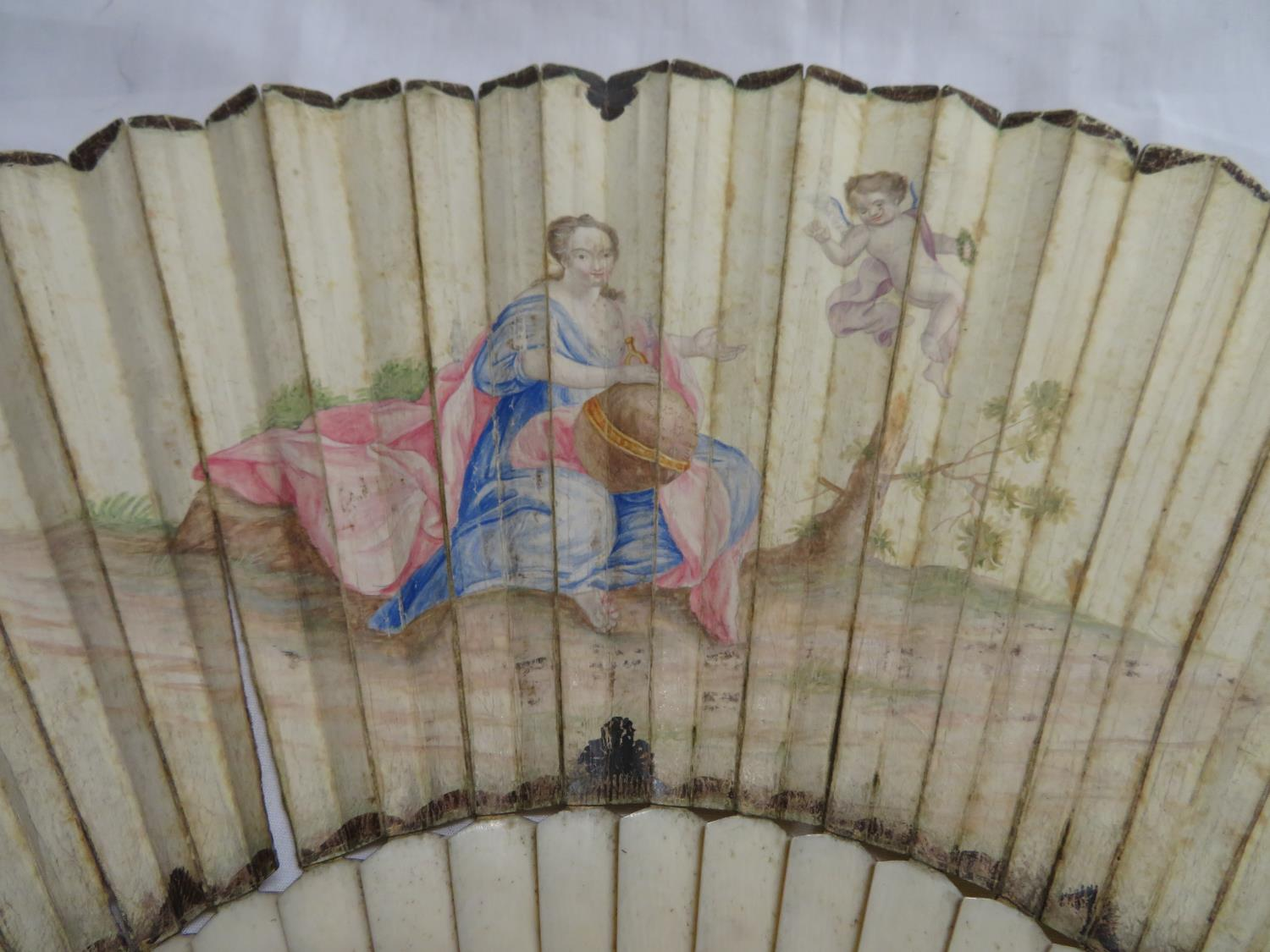 Lot 42 - Early eye glasses and hand painted vellum and ivory fan