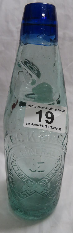 Lot 19 - Eckersley Bolton blue lipped codd bottle - no repairs