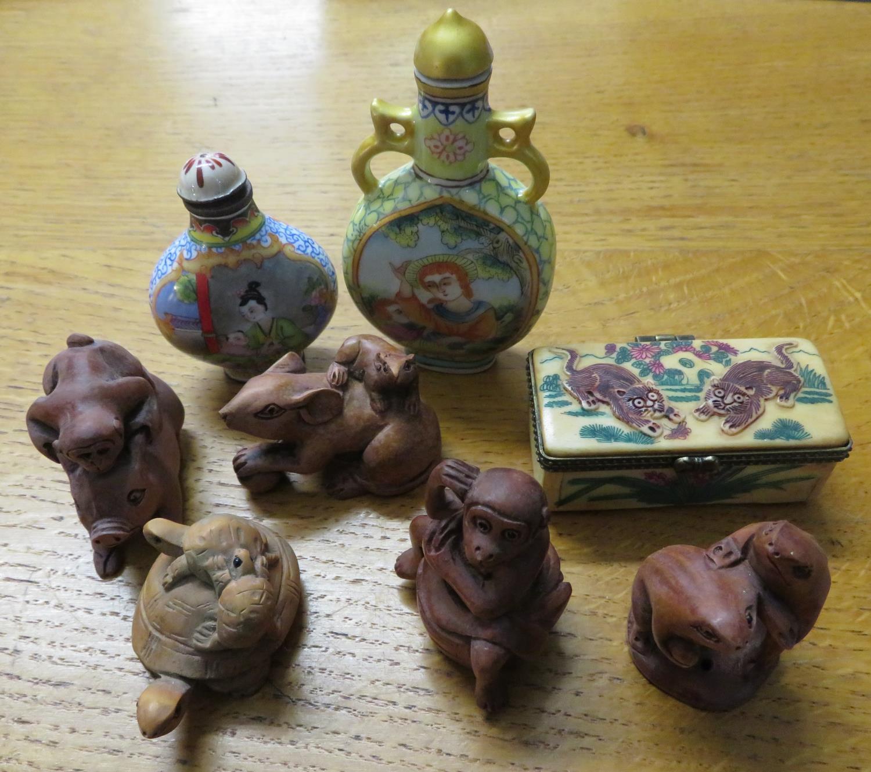 Lot 24 - 5x Japanese Netski, 2 snuff jars and a small bone box