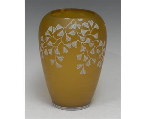 A Thomas Webb & Sons White Maiden Fern pattern two-layer cameo glass vase, the citron grown overlaid with opaque butterfl
