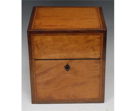 A George III rosewood-crossbanded satinwood decanter box, hinged cover enclosing four canted square glass spirit bottles, mus