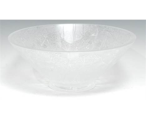 A Lalique glass Ombelles pattern bowl, of Art Deco conical design, circular foot, 30cm diam, signed Lalique * France