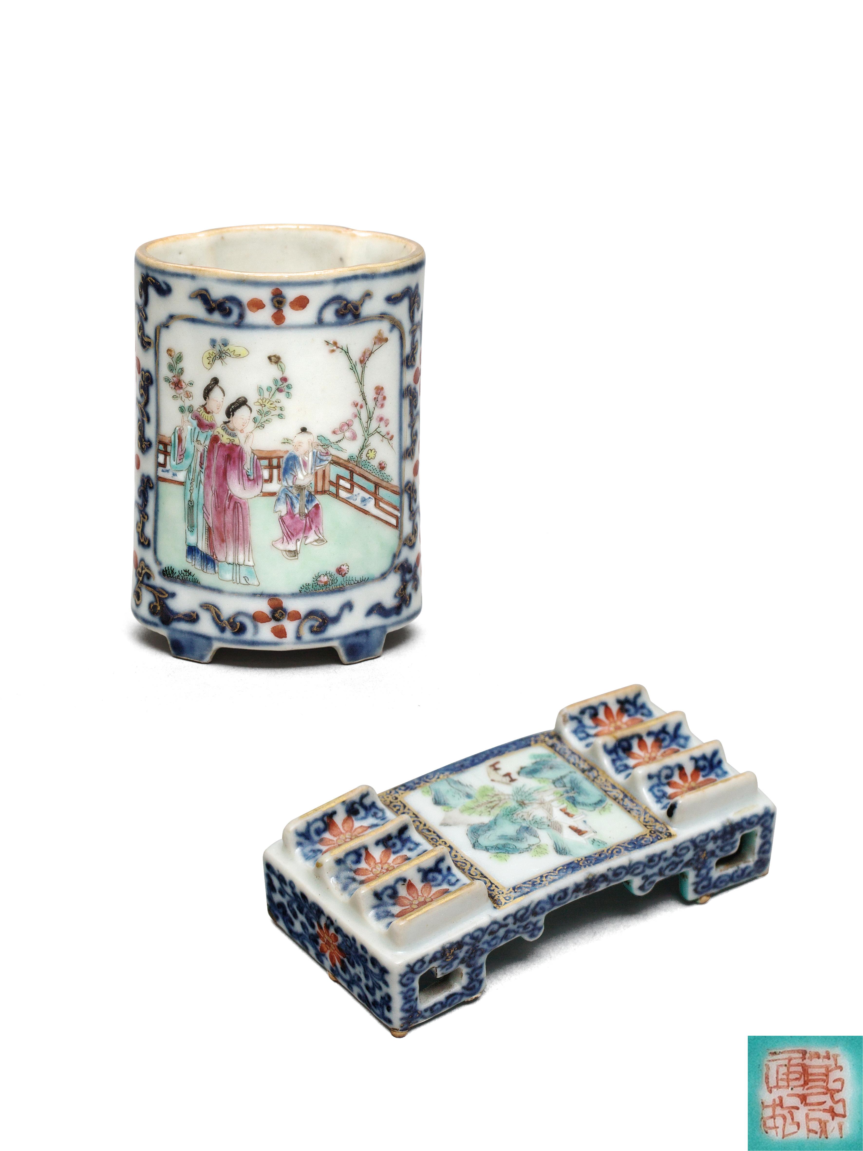Lot 54 - A famille rose brush pot / a famille rose brush-rest Qianlong Period