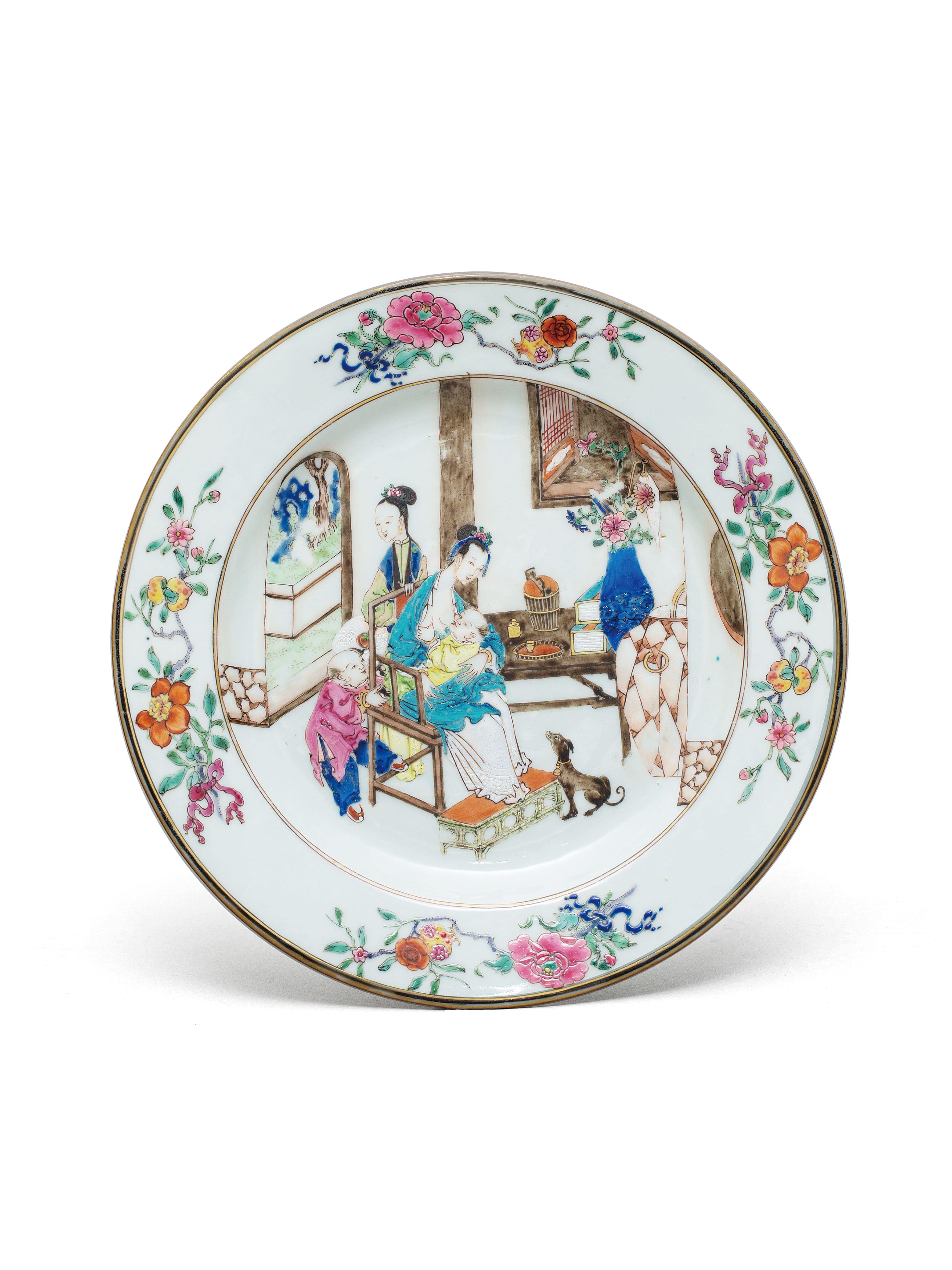 Lot 52 - An enamelled Yongzheng dinner plate Qing Dynasty, Yongzheng Period