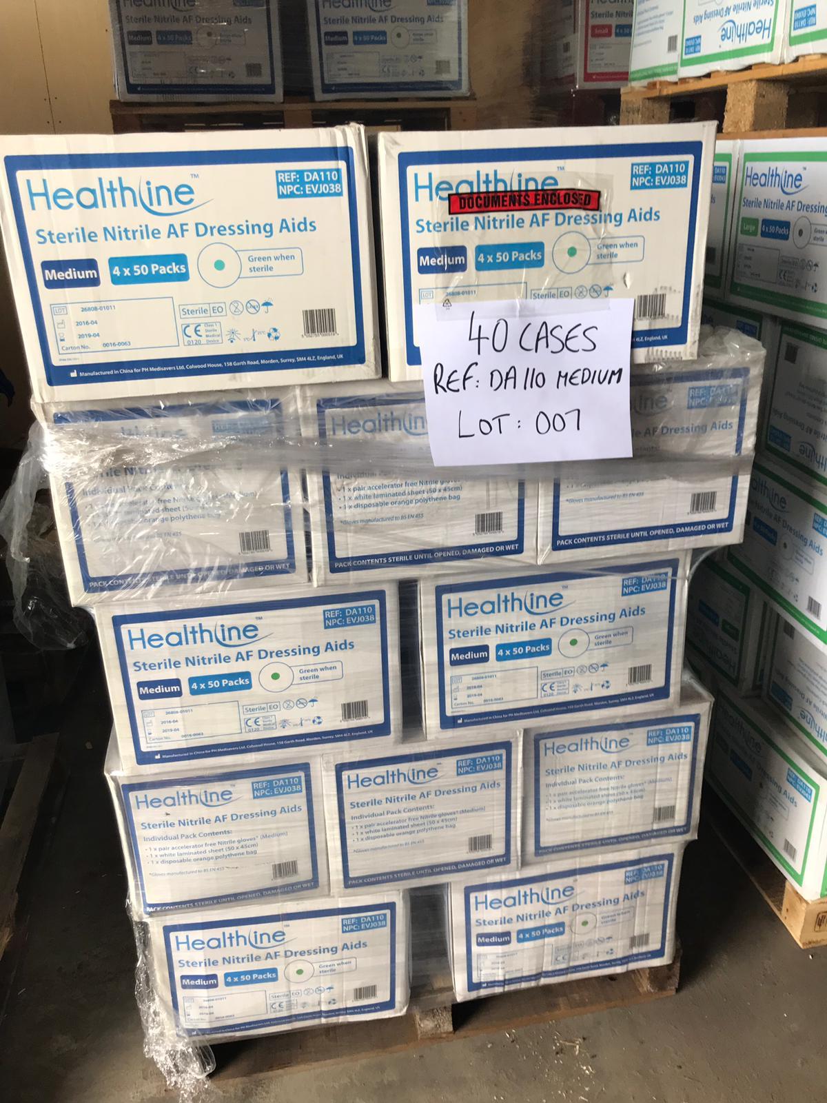 Lot 7 - STERILE NITRILE AF DRESSING AIDS MEDIUM 40 CASES ON PALLET