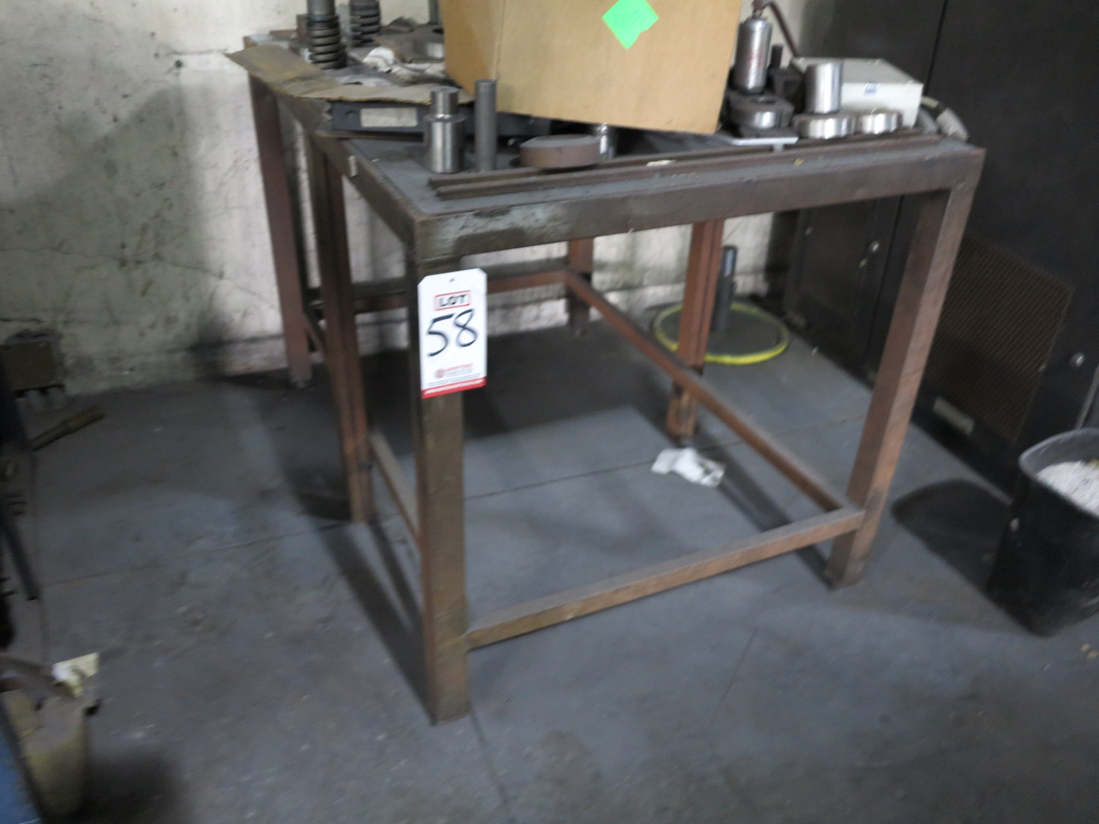 LOT - STEEL TABLE W/ MISC PUNCH PRESS TOOLING