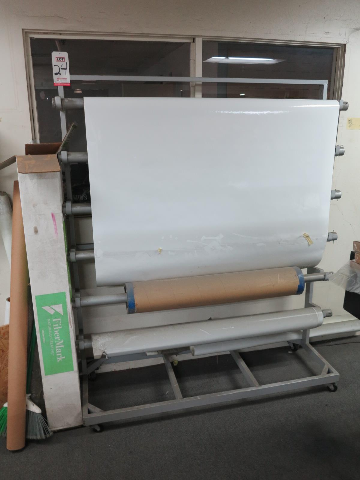 """6-ROLL SHEET DISPENSER, ON CASTERS, FITS UP TO 58"""" ROLLS"""