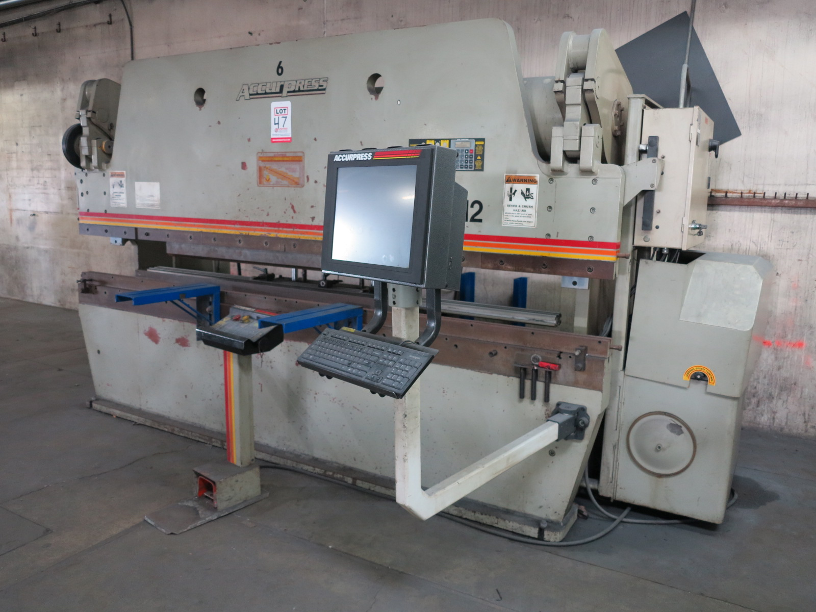 1999 ACCURPRESS BRAKE, MODEL 7017512, 175-TON X 12', E&S CONTROL, CNC BACKGAUGE, SUPPORTS, S/N 5758 - Image 2 of 7