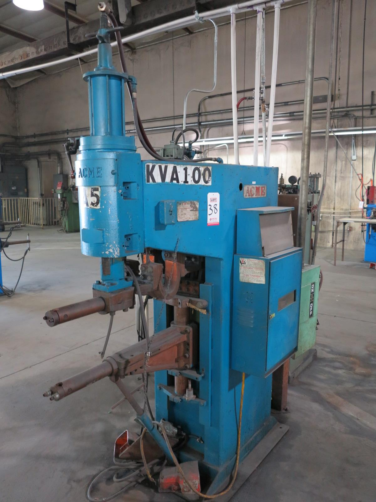 "ACME SPOT WELDER, PT1S-24-100, 100 KVA, ENTRON CONTROLLER, 28"" THROAT, S/N 14766, FOOT PEDAL - Image 2 of 2"