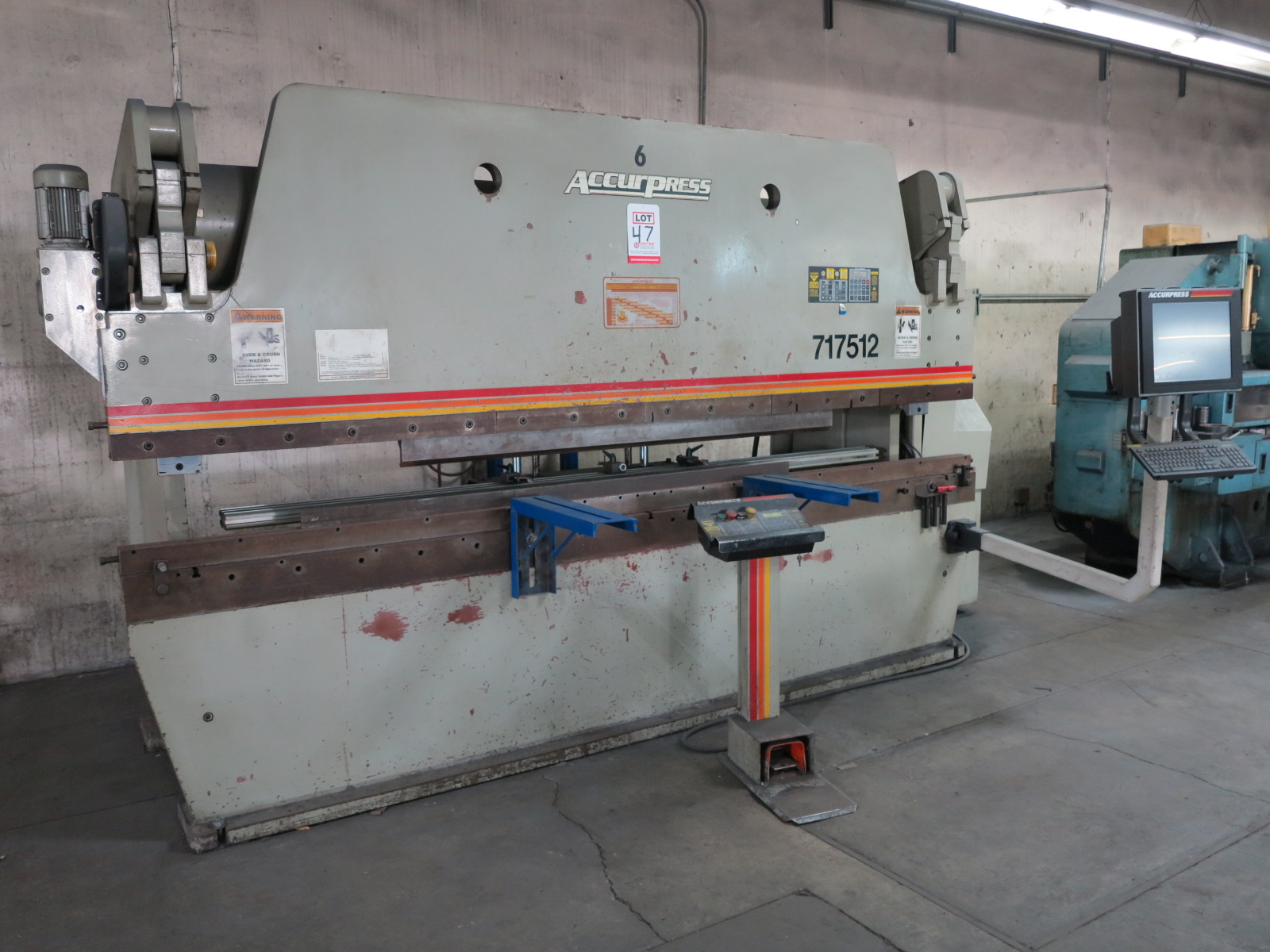 1999 ACCURPRESS BRAKE, MODEL 7017512, 175-TON X 12', E&S CONTROL, CNC BACKGAUGE, SUPPORTS, S/N 5758