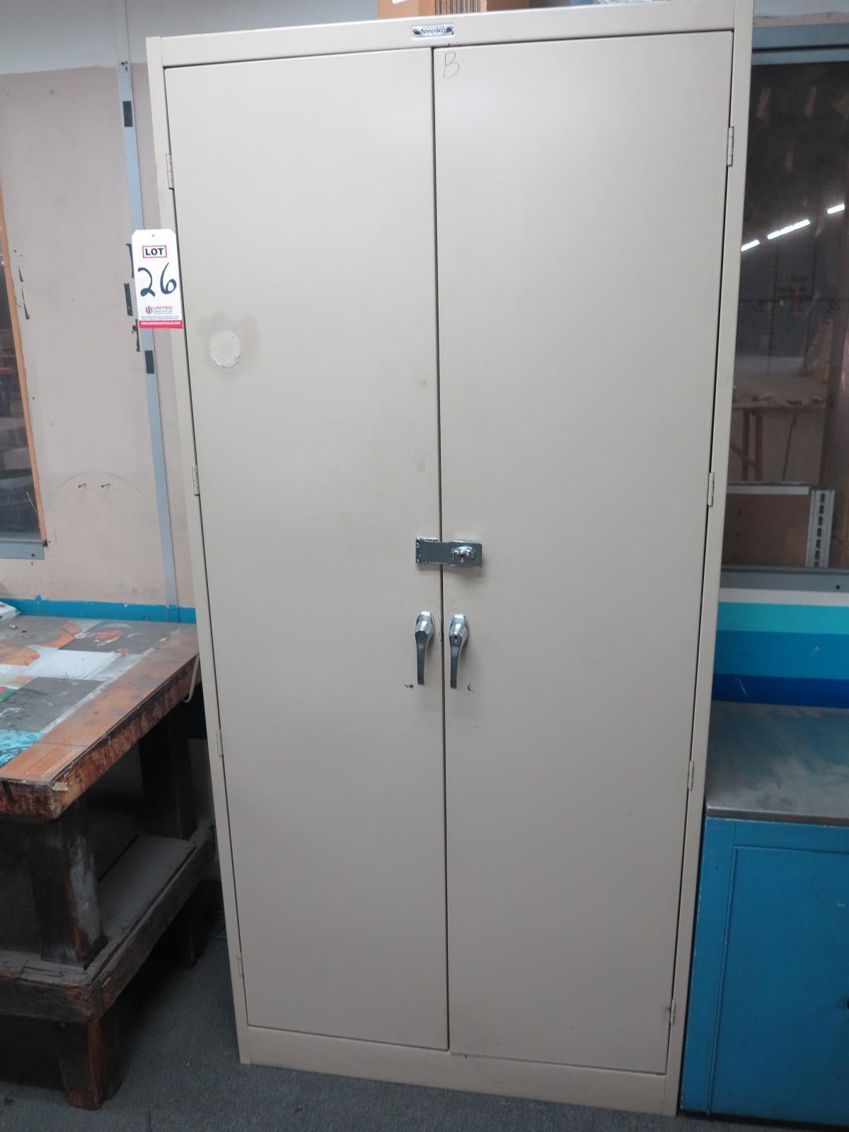 2-DOOR TENNSCO STORAGE CABINET, LOCKING, COMES W/ KEY