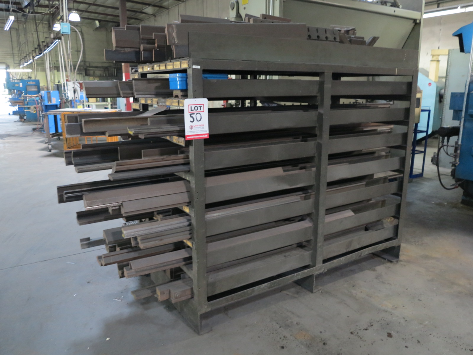 LOT - LARGE QUANTITY OF BRAKE DIES, RACK INCLUDED