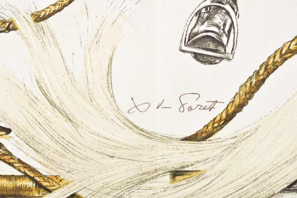 """Lot 14 - Hermès Carree """"A Propos de Bottes"""", Entw.: Xavier de Poret 1962, Seide, 90x90cm, fleckigHermès"""