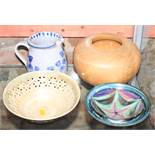 "An Aldermaston pottery bowl, 6 1/2"" dia, two other similar bowls, a tin glazed jug, and a turned"