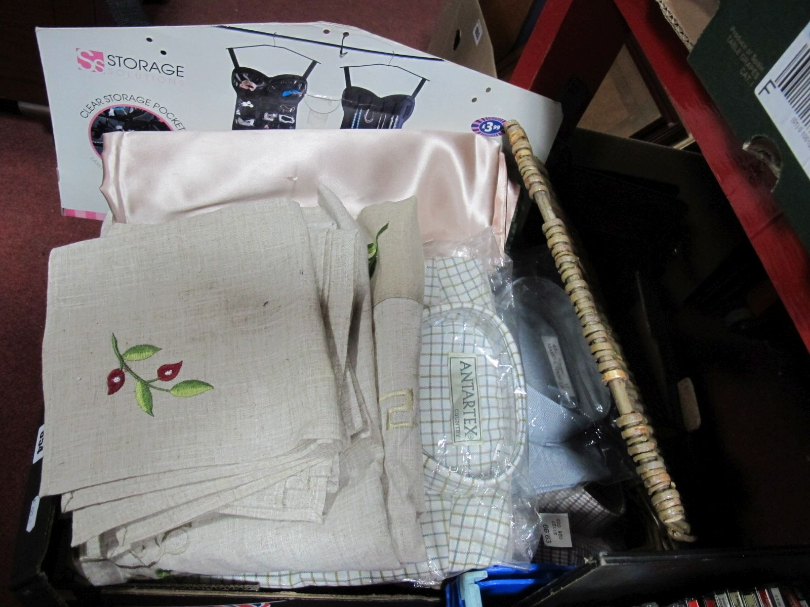 Lot 654 - Embroidered Covers, gents 'county' shirts, picnic blanket, wicker basket, ladies shoes, jewellery