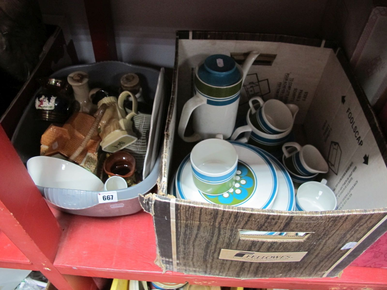 Lot 667 - A Meakin Elite Coffee Service, circa 1970's of thirty pieces, inhalers, other ceramics:- Two Boxes