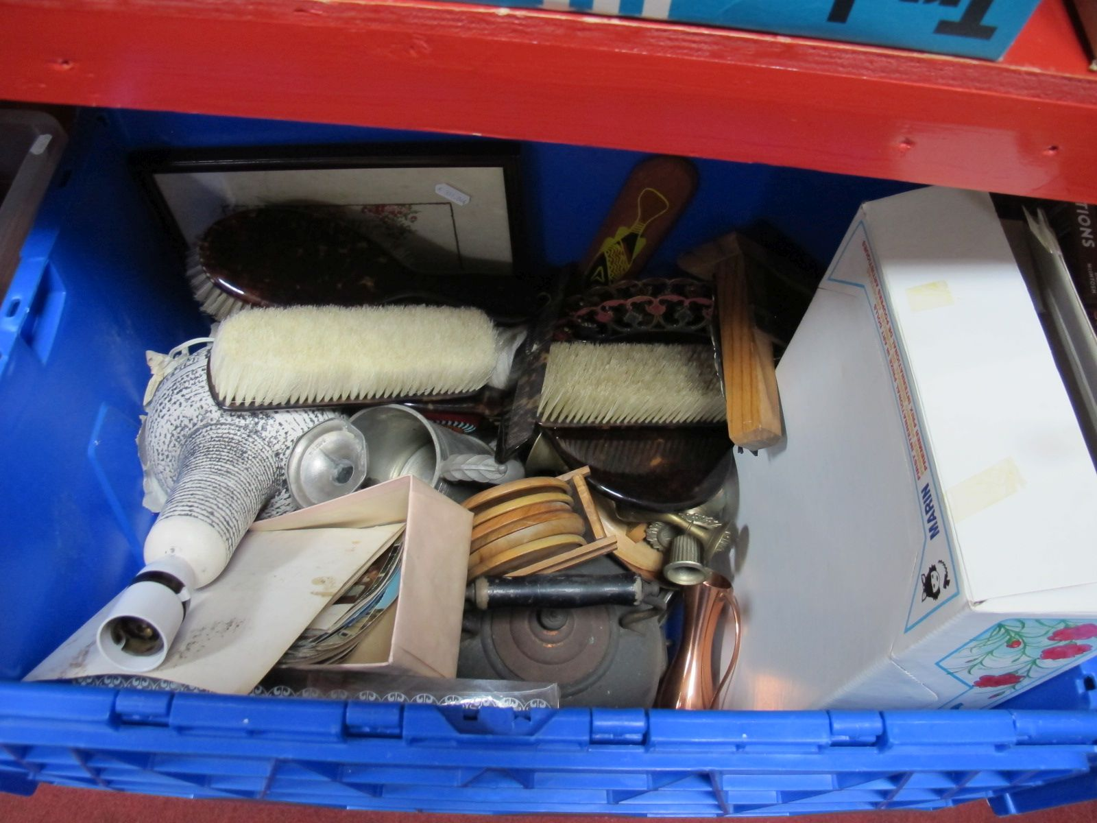 Lot 638 - Postcards, lamp, cutlery, copper kettle, etc:- One Box