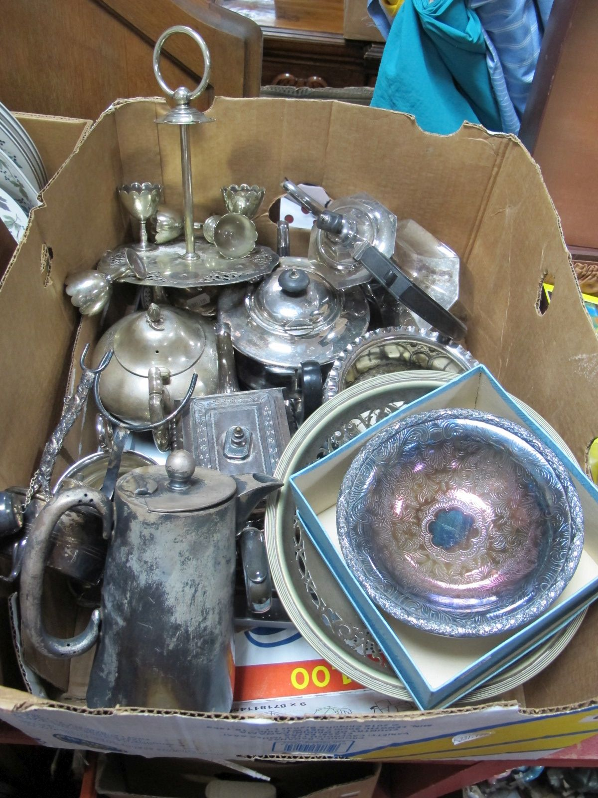 Lot 674 - Assorted Plated Ware, including teapots, pedestal dish, cruet, posy bowl, egg cruet stand (