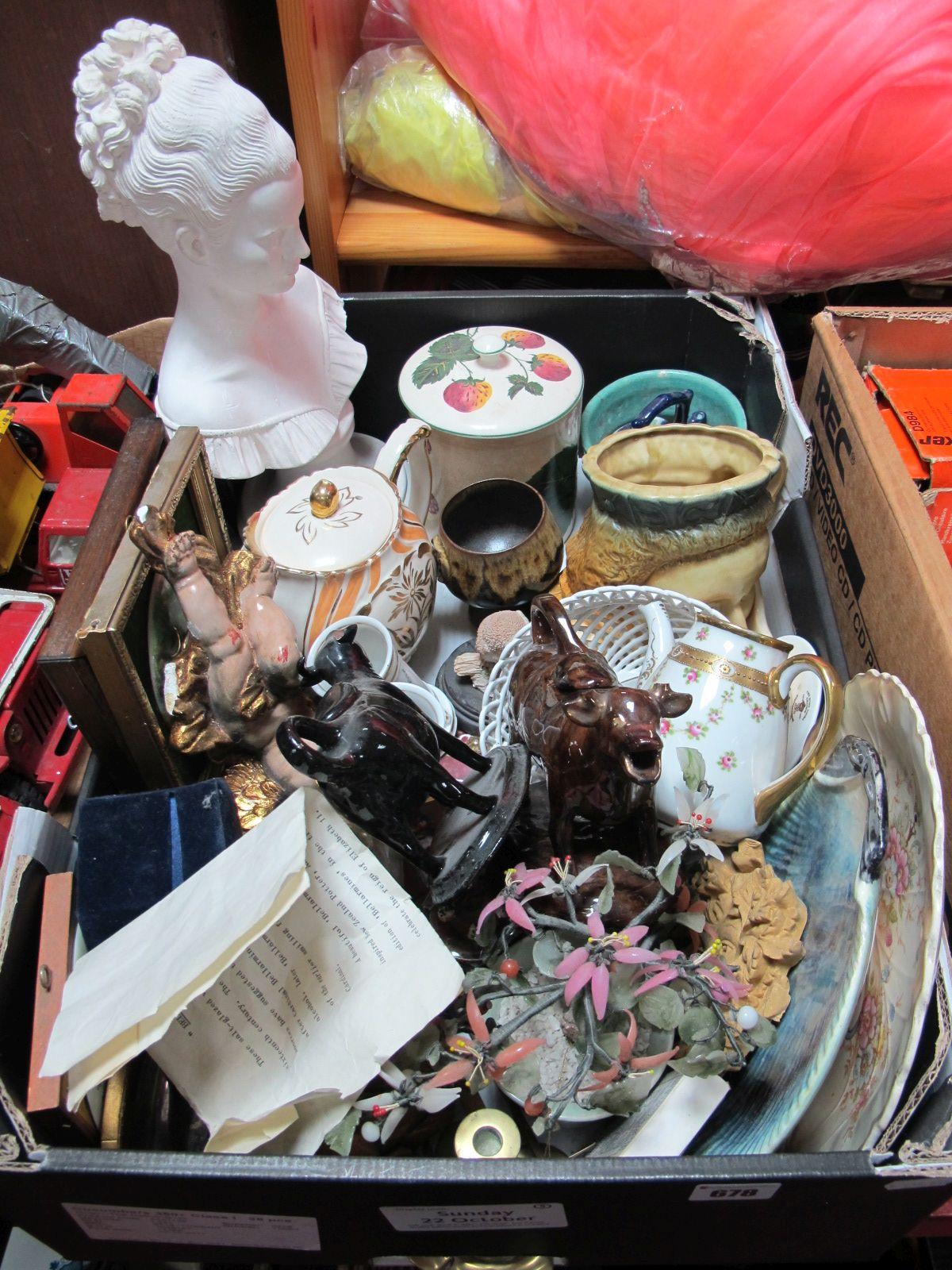 Lot 678 - Cow Creamers, plaster bust, coasters, Bonsai tree, Plichta berry jar, character jug, etc:- One Box