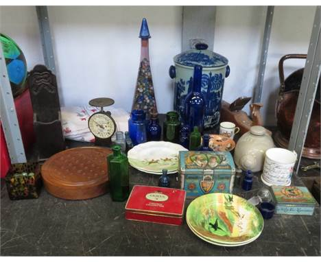 GLASS CARAFE CONTAINING MARBLES TOGETHER WITH ASSORTED COLLECTABLES INCLUDING ADVERTISING TINS