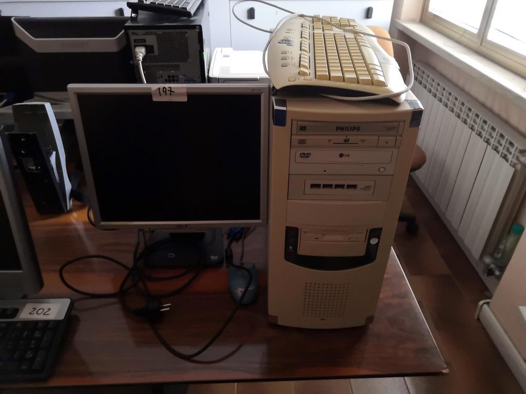 N. 197 (775 FALLIMENTO) COMPUTER PHILIPS COMPLETO DI MONITOR ACER, TASTIERA E MOUSE LOGITECH (BENI