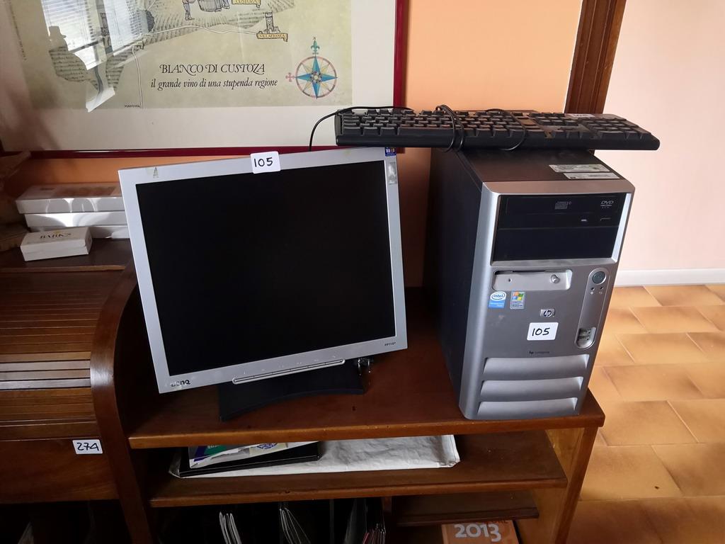 N. 105 (775 FALLIMENTO) COMPUTER HP , MONITOR BENQ, MOUSE, TASTIERA HP (BENI IN ASTA E VISIBILI IN