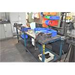 1 X STEEL ENGINEERS BENCH 2450 X 720 X WITH 3 X ENGINEERS VICES & ANY CONTENTS