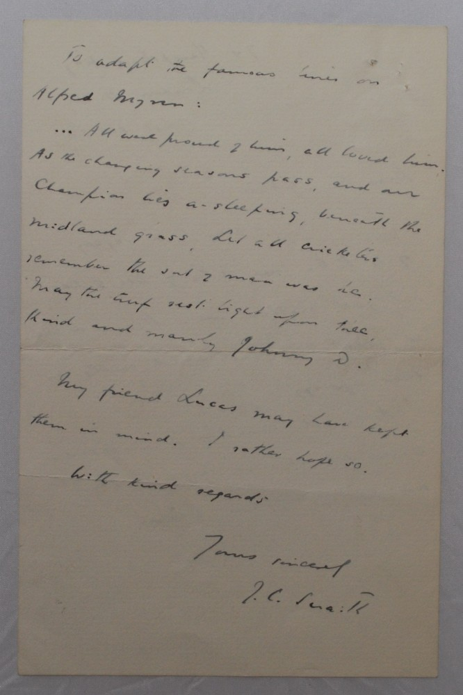 Lot 193 - John Collis Snaith. Nottinghamshire (one match) 1900. Two page handwritten letter from Snaith, dated