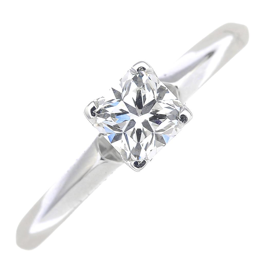 Lot 26 - A square-shape diamond single-stone ring.Estimated diamond weight 0.40ct, I-J colour, SI clarity.