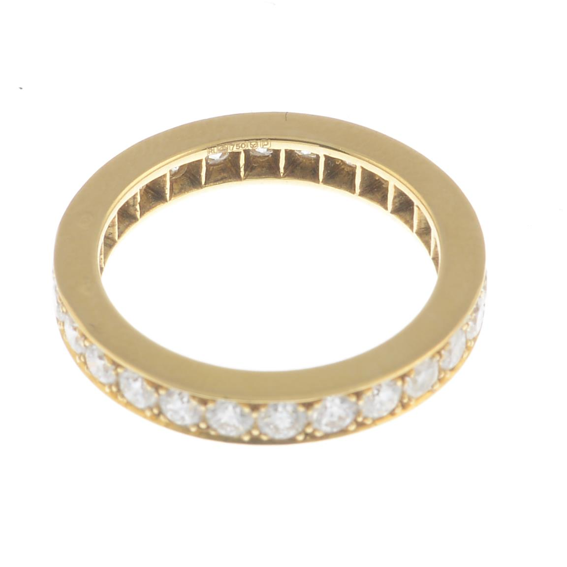 Lot 11 - An 18ct gold diamond full eternity ring.Estimated total diamond weight 1.30cts.Hallmarks for