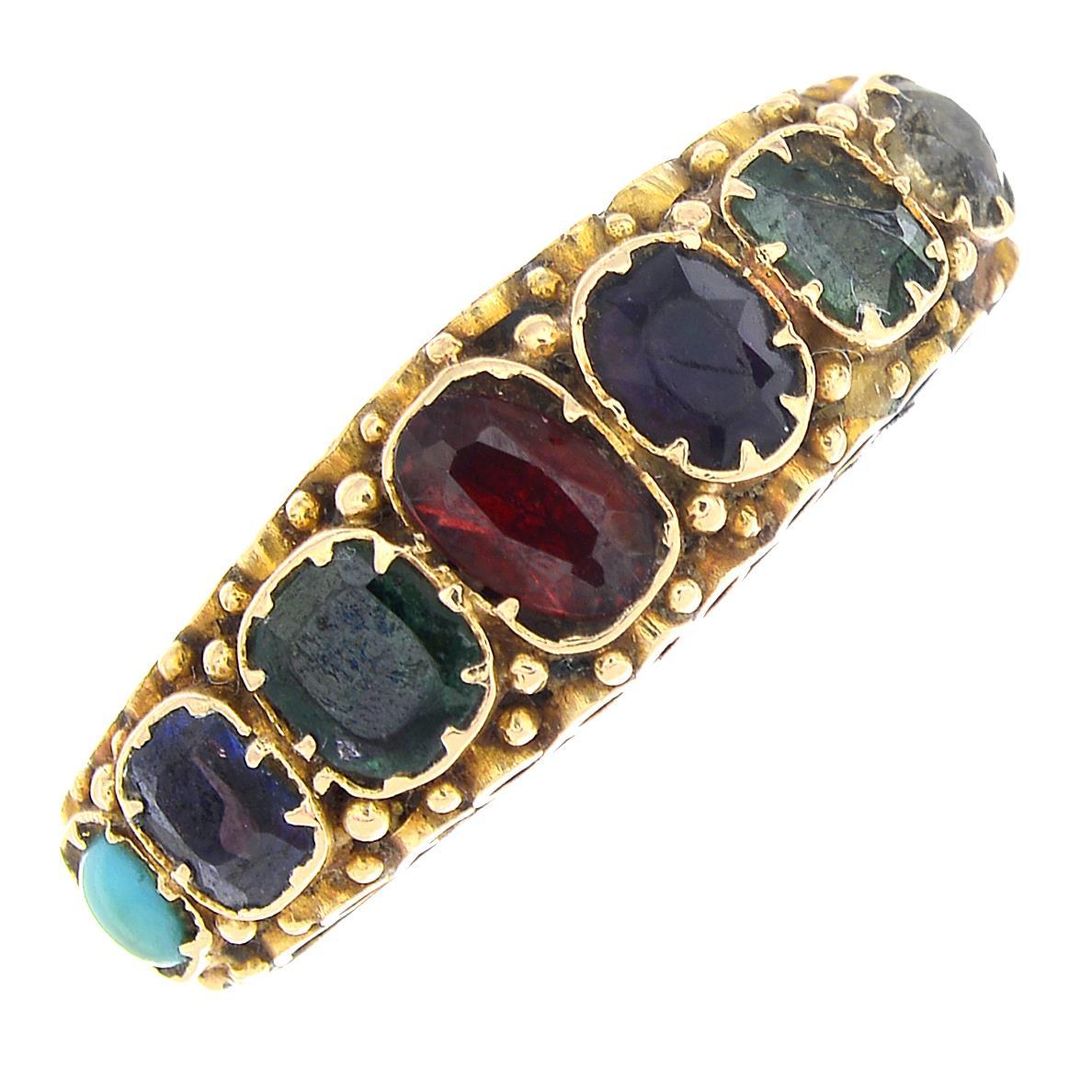 Lot 5 - A mid Victorian 15ct gold gem-set acrostic ring.Hallmarks for Birmingham, 1871.