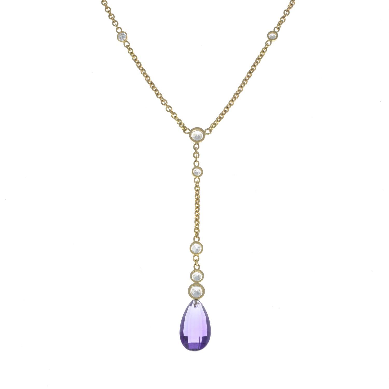 Lot 14 - A diamond necklace, suspending an amethyst briolette.