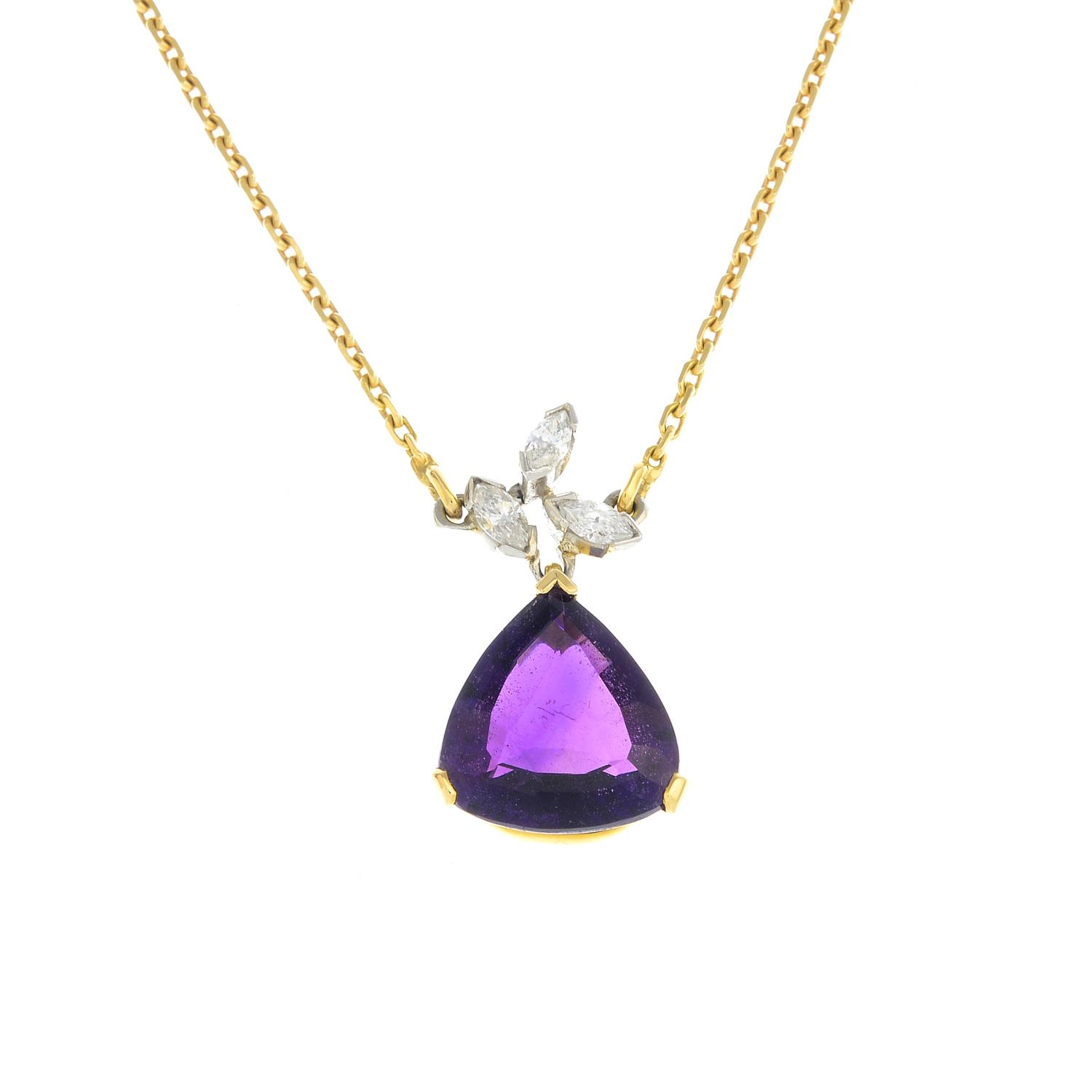 Lot 12 - An 18ct gold amethyst and diamond pendant,