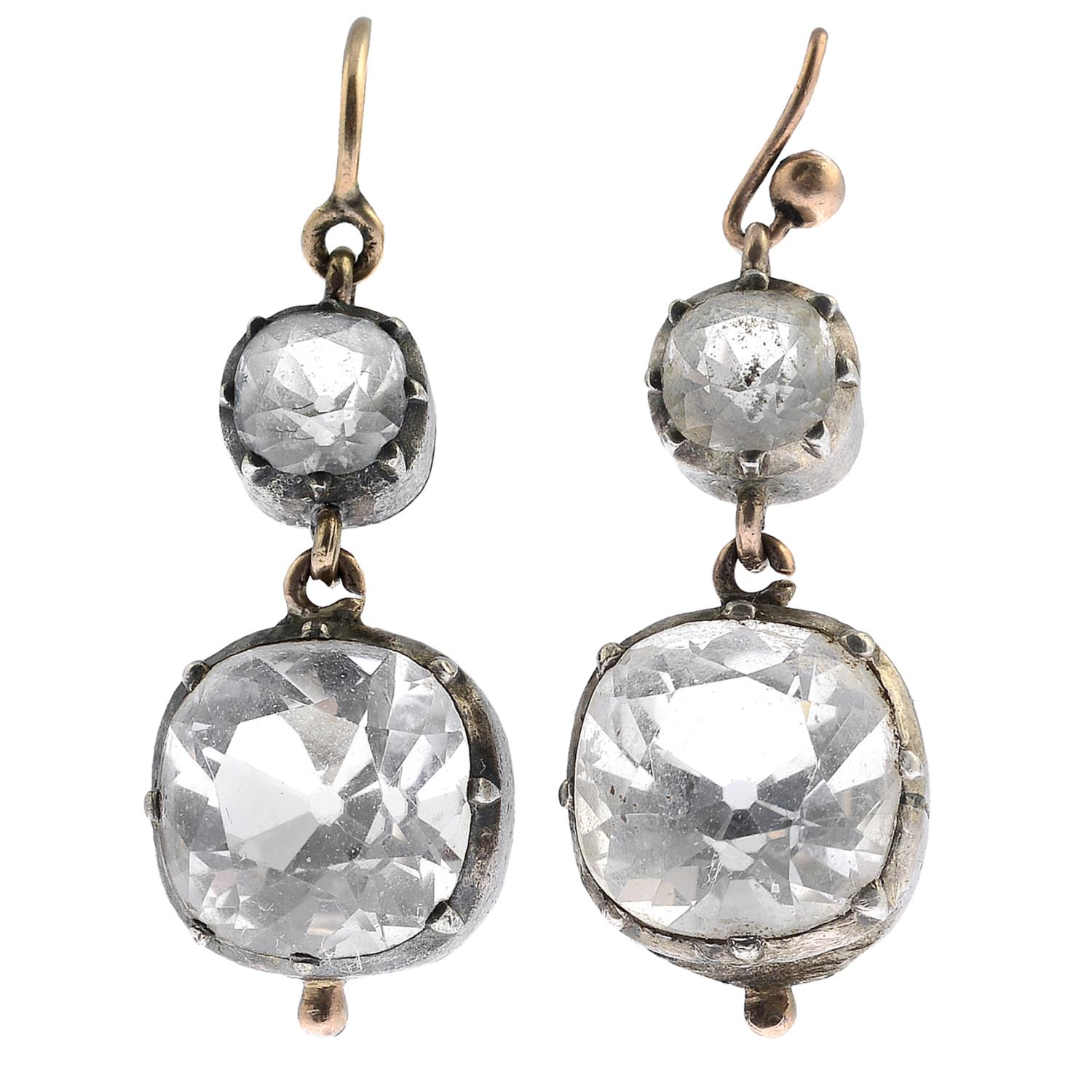 Lot 7 - A pair of late Georgian rock crystal earrings.Rock crystals calculated total principal weight 8cts,