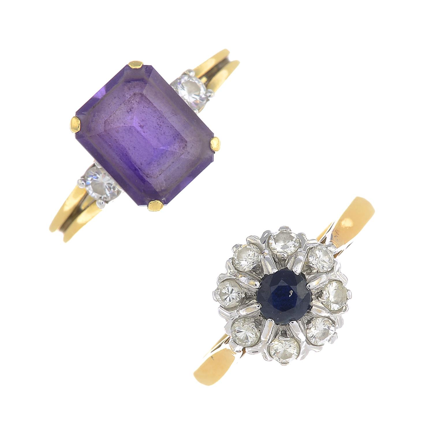 Lot 54 - Two diamond and gem-set rings.Amethyst calculated weight 2.95cts,