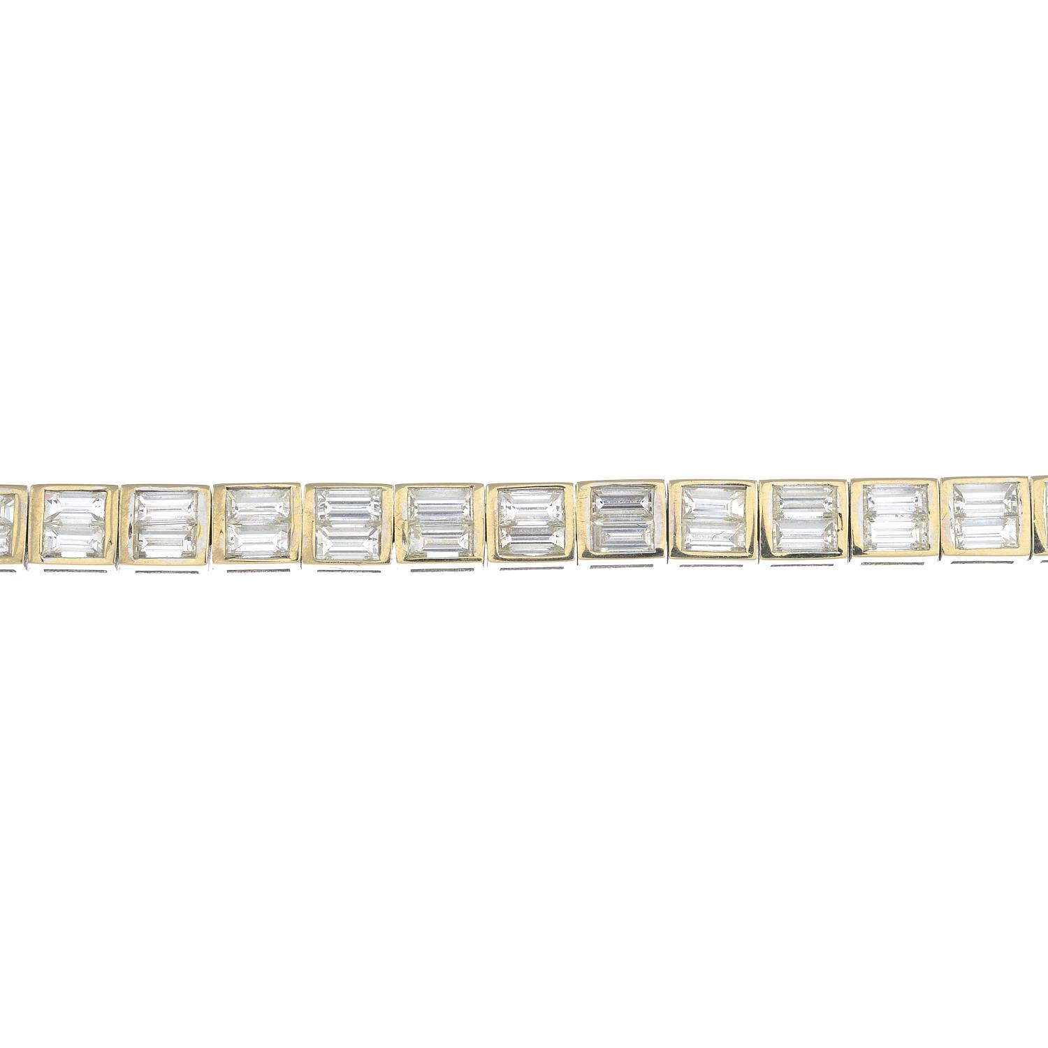 Lot 36 - A diamond bracelet.Estimated total diamond weight 9 to 10cts, H-I colour, VS2-SI1 clarity.