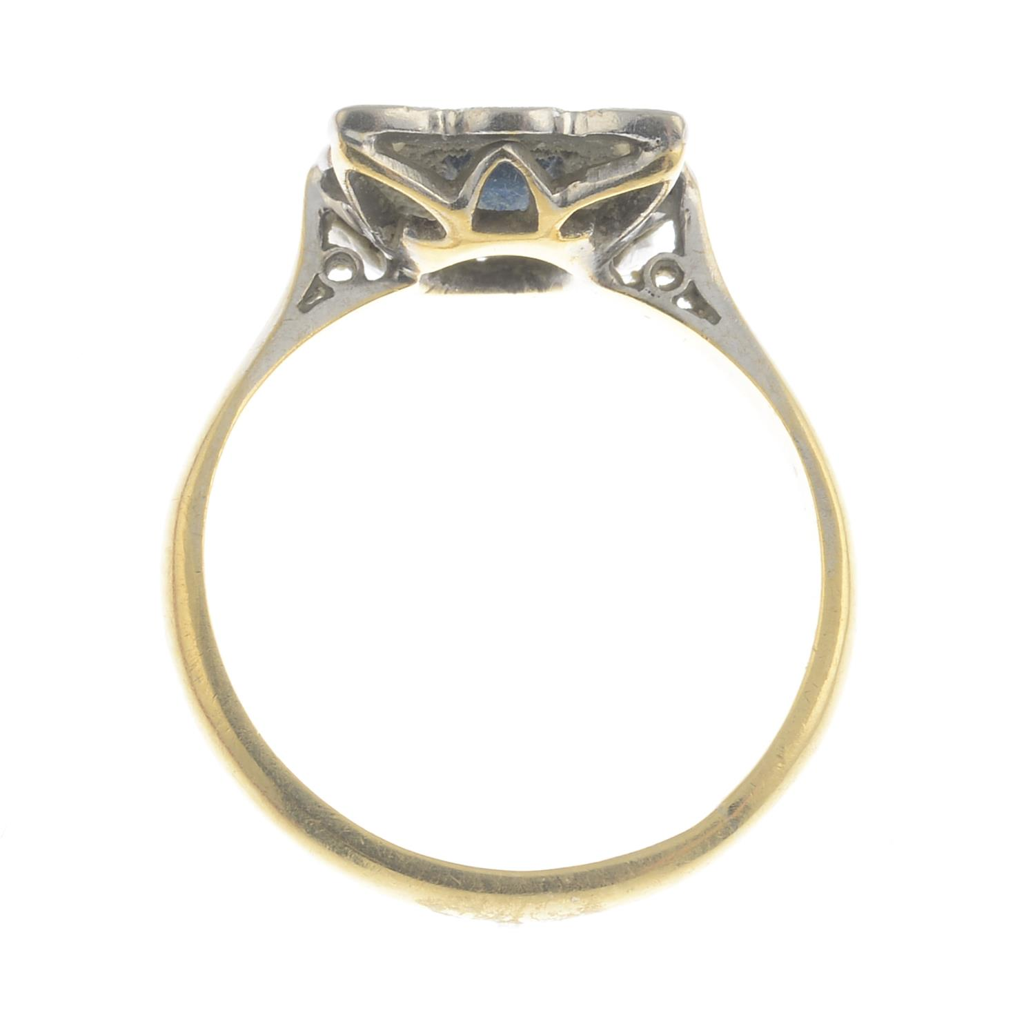 Lot 18 - A mid 20th century 18ct gold and platinum, sapphire and diamond dress ring.