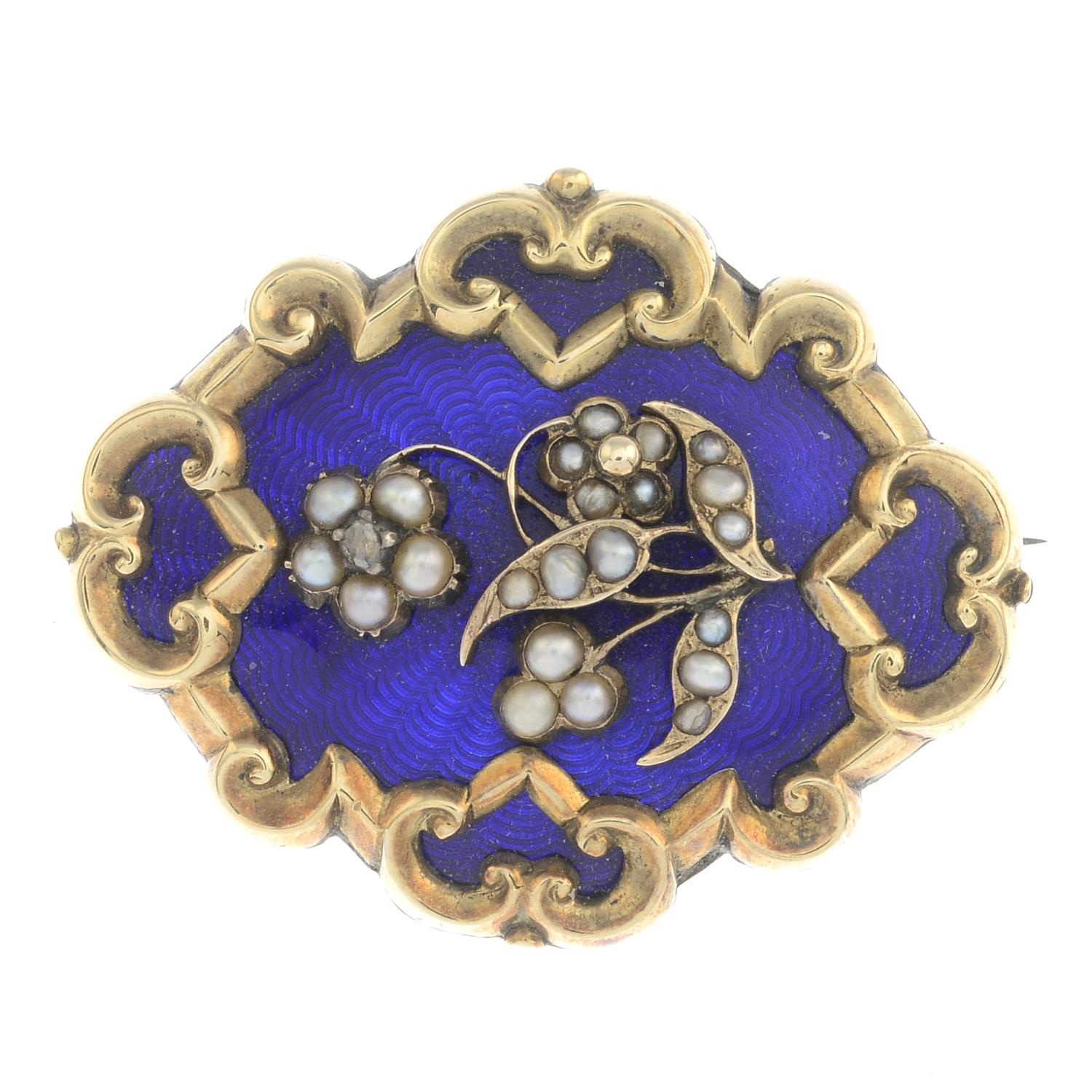 Lot 37 - A late Victorian gold split pearl and diamond enamel brooch.Length 3.8cms.