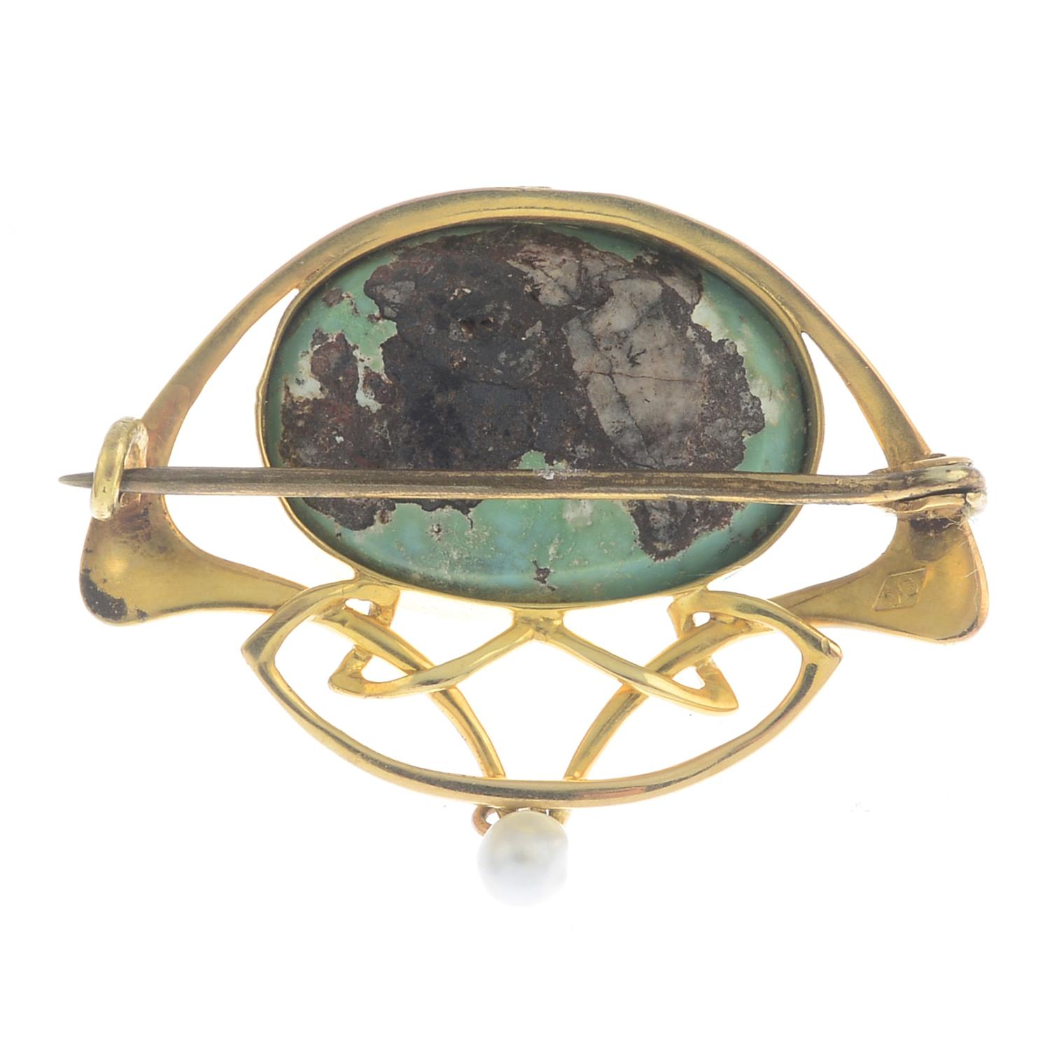 Lot 8 - An Art Nouveau turquoise and pearl brooch.Turquoise calculated weight 15cts,