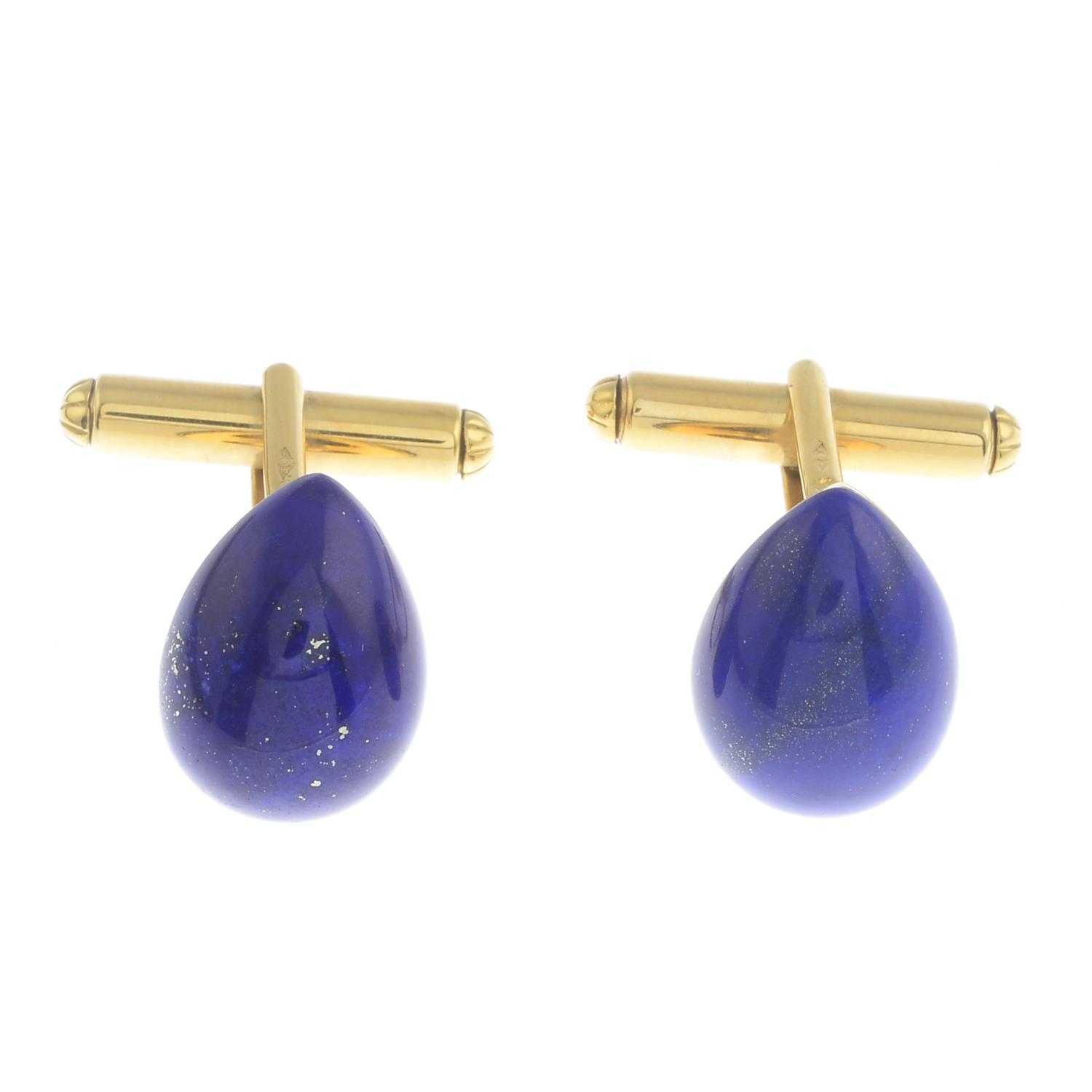 Lot 47 - A pair of 18ct gold lapis lazuli cufflinks.Hallmarks for London, 2000.Length 1.6cms.