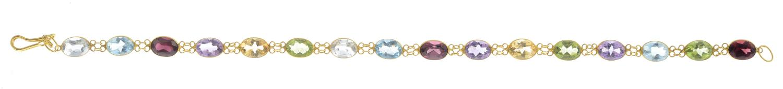 Lot 46 - A multi-gem bracelet to include peridot,
