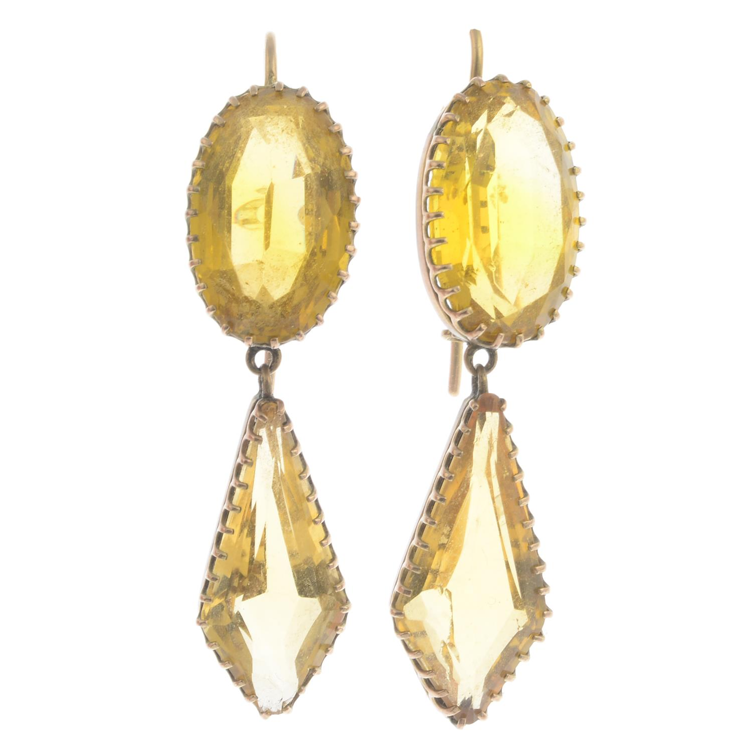 Lot 2 - A pair of late Victorian gold citrine drop earrings.Citrine calculated total weight 19.87cts,