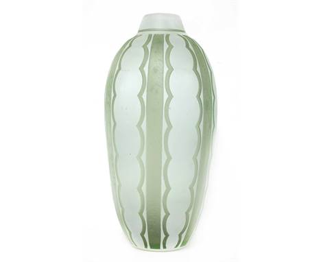 A Daum cased glass vase,of ovoid form, with cut vertical designs on an 'ice' ground, inscribed 'Daum Nancy France',47cm highF