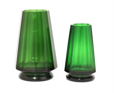 Two Moser Karlsbad dark green glass vases, of tapering faceted form, printed with Moser Karlsbad Wiener Werkstätte marks, 13.