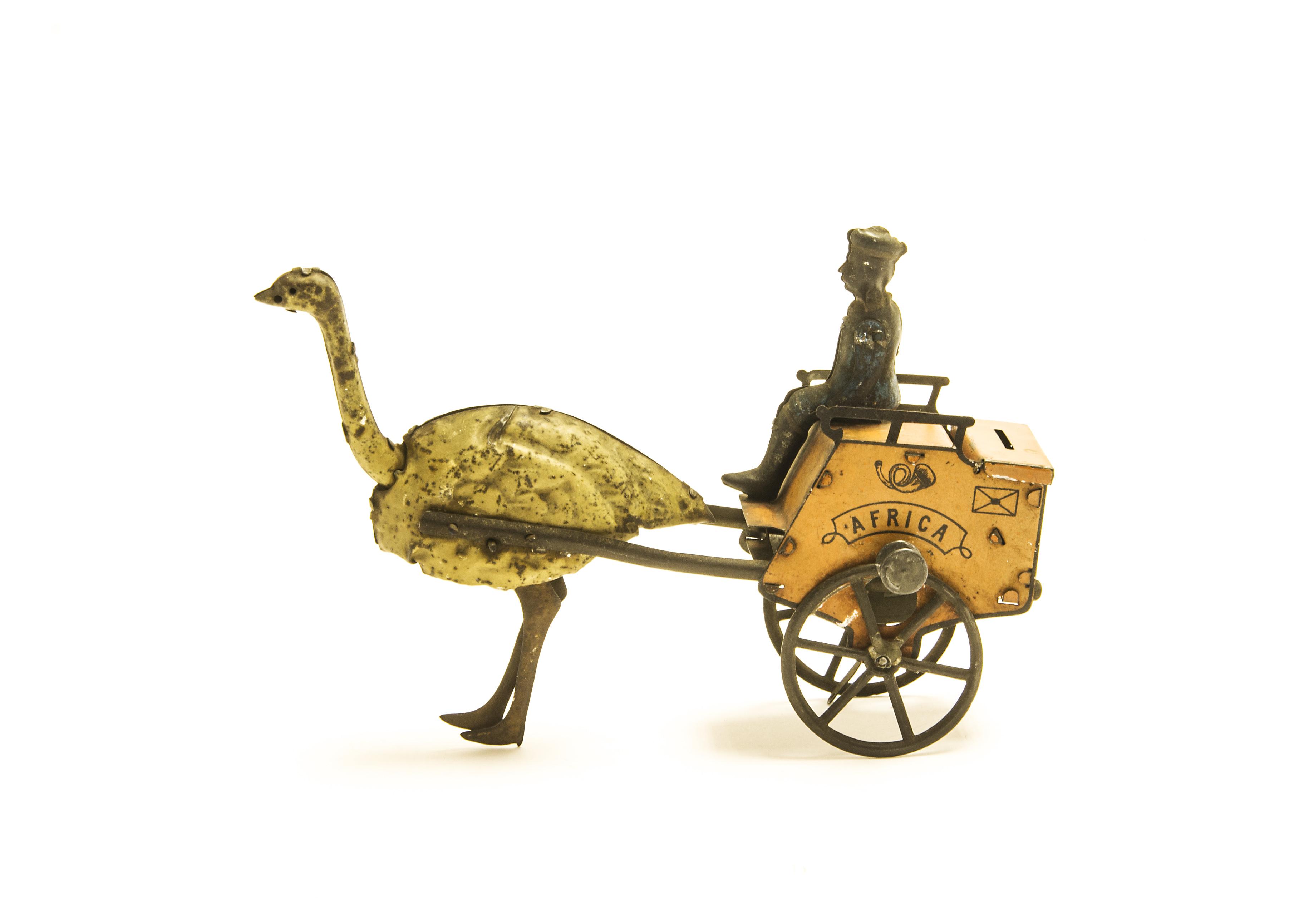 Lot 375 - A Lehmann Tinplate Flywheel-Drive 'Africa' Ostrich Postal Cart, EPL 170, orange cart (faded red),