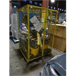 1 LOT YELLOW CAGE W/ JANITORIAL CONTENTS
