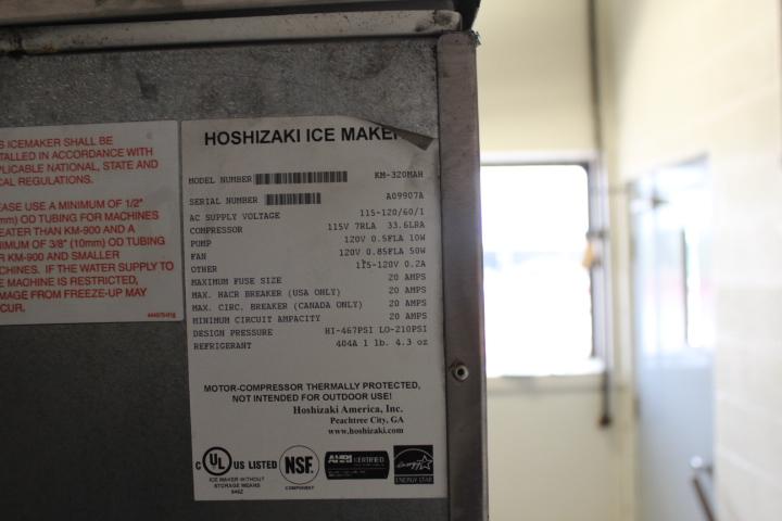 1X, HOSHIZAKI KM-320MAH 310LB ICE MACHINE W/BIN - Image 4 of 6
